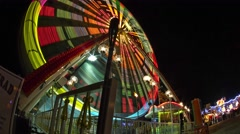 Ride at a Carnival, Fair, Kermis Night Motion Timelapse Stock Footage