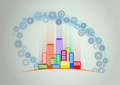 Illustration of colorful urban city with gearing Stock Illustration