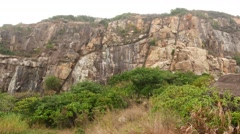Devil's peak hill rocky side, open siltstone surface, break slope Stock Footage