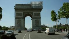 Champs The Arc de Triomphe  in Paris, France Stock Footage