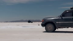 Off-road adventure on the salt flat Salar de Uyuni in Bolivia Stock Footage
