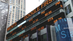 Financial data on billboard in Times Square NYC Stock Footage