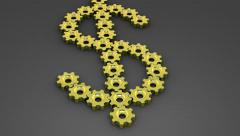 Golden gears - Dollar sign, 4K. Stock Footage