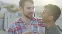 Gay Couple Enjoy Wine Tasting On A Rooftop In San Francisco, They Cheers (4K) Stock Footage