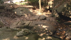 Stone carving near Kbal Spean at Angkor, Siem Reap, Cambodia Stock Footage