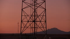 Cell Tower in the sunset Stock Footage