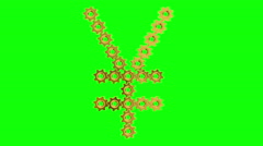 Golden gears - Japanese yen sign, 4K. Seamless loop, green screen. Stock Footage
