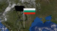 Bulgaria flag on pole on earth globe animation Stock Footage