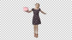 Little girl play - jumps and laughs. Cut out video on transparent background Stock Footage