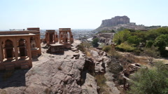 High angle view of Jodhpur cityscape from Jaswant Thada temple. Stock Footage