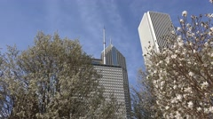 Chicago. Aon Center & Prudential Building from the Millennium Park in spring. Stock Footage