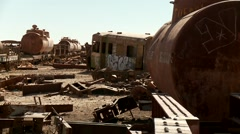 Train Graveyard, Uyuni, Bolivia Stock Footage
