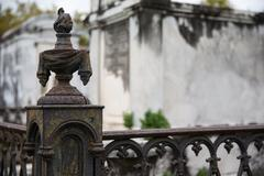 New Orleans - Wrought Iron Cemetery Post Stock Photos