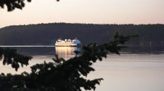 Ferryboat, distant ferryboat early day Stock Footage