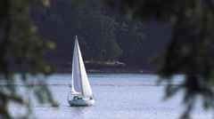 Sailboat, inside passage Stock Footage