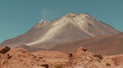 Stock Video Footage of Vulcan Ollagüe with fumalore in Bolivia