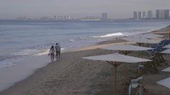 Couple on Beach from Malecon, Broadwalk, Puerto Vallarta, Mexico, Stock Footage