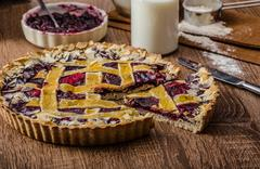 Stock Photo of Shortbread tart with cherries