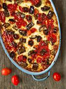 rustic italian baked vegetable ragu - stock photo