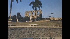 Vintage 16mm film, 1960, Panamá Viejo ruins Stock Footage