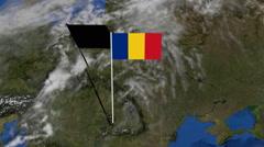 Romania flag on pole on earth globe animation Stock Footage