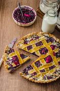 Shortbread tart with cherries Stock Photos