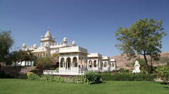 View on garden by Jaswant Thada temple in Jodhpur. Stock Footage