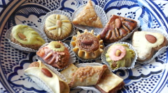 Oriental pastry sweets in a bowl Stock Footage