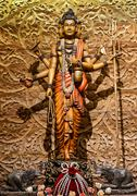 Shiva carved wood - stock photo