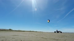 Kite buggies in action - stock footage