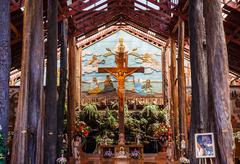 Jesus Christ on the cross at the  Woodlands museum in Nakhon Pathom, Thailand Stock Photos