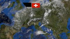 Swiss flag on pole on earth globe animation Stock Footage