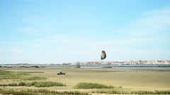 Kite buggies in action Stock Footage