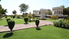 Panoramic view of Jaswant Thada temple from outdoor garden. Stock Footage
