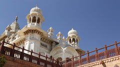 Rooftop with towers and outdoor passage of Jaswant Thada temple in Jodhpur. Stock Footage