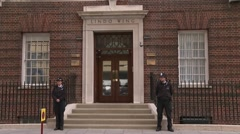London Police Guarding Lindo Wing of St Mary's Hospital Stock Footage