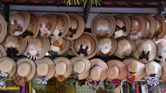 Hat vendor, just off the Malecon (Broadwalk) in Puerto Vallarta, Mexico Stock Footage