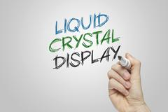 Hand writing liquid crystal display Stock Photos