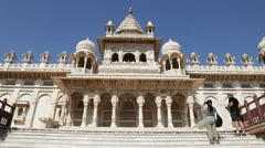 Front of Jaswant Thada temple, with people taking pictures aside. Stock Footage