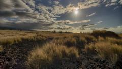 HDR Dynamic Grasslands Setting Sun Time Lapse, Waikoloa Ranch Land, Big Island Stock Footage