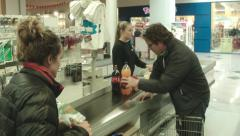 Friends Shopping in an Icelandic Grocery Store Stock Footage