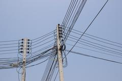 high voltage electricity post - stock photo