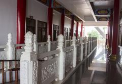 White lotus sculpture banister Stock Photos