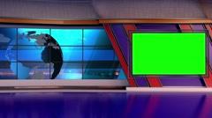 News TV Studio Set 66-Virtual Green Screen Background Loop Stock Footage