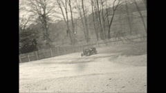 Vintage 16mm film, early stock car race, out of the backstraight, 1948 Stock Footage