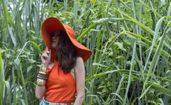 CHIANGMAI, THAILAND - AUGUST 3: An unidentified female model is posing during - stock photo