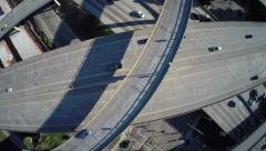 Aerial Overhead shot of interstate freeway traffic Arkistovideo