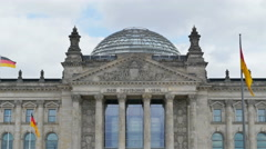 Reichstag german parliament frontal view 4k Stock Footage