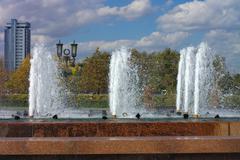 fountain on street - stock photo