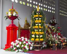 Lotus, marigold and folded banana leaf ornament Stock Photos